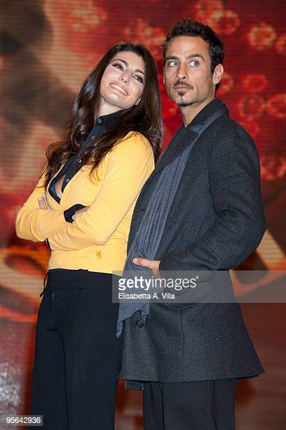 Actor Raz Degan and his dance partner Samanta Togni attend a photocall for the Italian TV show 'Ballando Con Le Stelle' at Auditorium RAI on January...