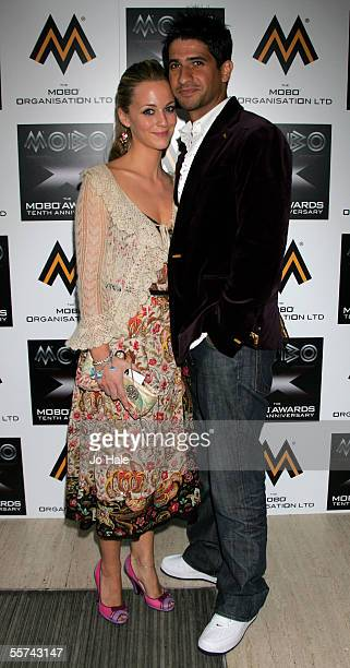 Actor Raza Jaffrey and guest arrive at the MOBO Awards 2005, the tenth anniversary of the annual music event, at the Royal Albert Hall on September...