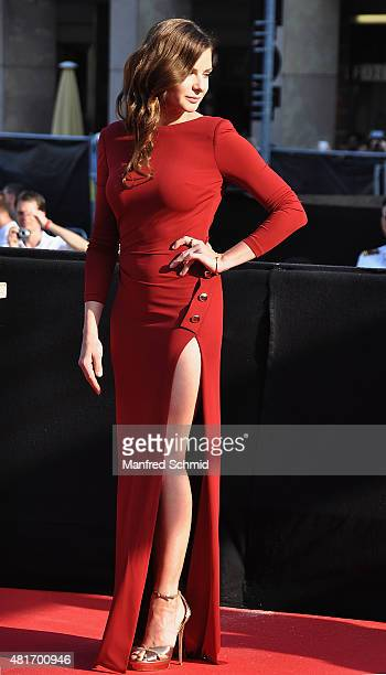 Actor Rebecca Ferguson poses at the world premiere for the film 'Mission Impossible Rogue Nation' at Staatsoper on July 23 2015 in Vienna Austria