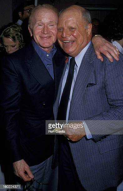 Actor Red Buttons and comic Don Rickles attend 80th Birthday Party for Milton Berle on July 12 1988 at La Cage Aux Folles in Hollywood California