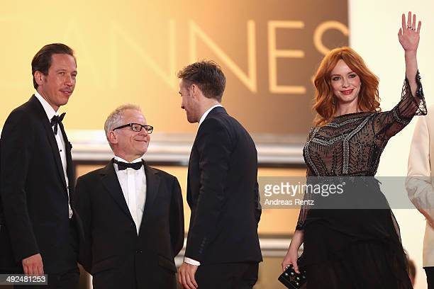 Actor Reda Kateb General Delegate of the Cannes Film Festival Thierry Fremaux actors Ryan Gosling and Christina Hendricks attend the 'Lost River'...