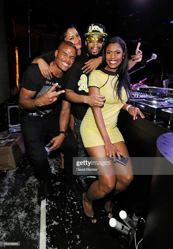 Actor Redaric Williams, television personality Claudia Jordan, recording artist Lil' Jon and Omarosa Manigault appear at the Surrender Nightclub at Encore Las Vegas to celebrate the season premiere of 'All-Star Celebrity Apprentice' on March 2, 2013 in Las Vegas, Nevada.