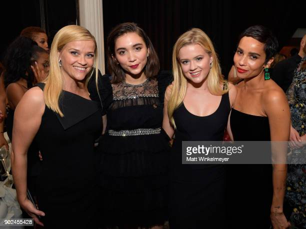 Actor Reese Witherspoon actor Rowan Blanchard Ava Elizabeth Phillippe and actor/singer Zoe Kravitz attend the 2018 InStyle and Warner Bros 75th...