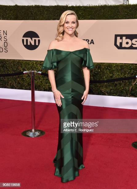 Actor Reese Witherspoon attends the 24th Annual Screen Actors Guild Awards at The Shrine Auditorium on January 21 2018 in Los Angeles California...