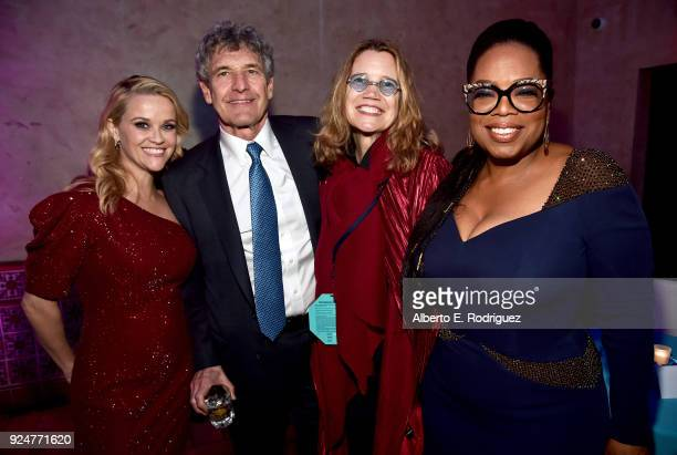 Actor Reese Witherspoon Chairman The Walt Disney Studios Alan Horn Cindy Horn and actor Oprah Winfrey at the world premiere of Disney's 'A Wrinkle in...