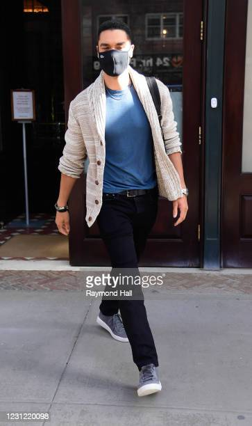 Actor Rege-Jean Page walks in SoHo on February 17, 2021 in New York City.