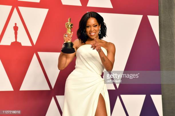Actor Regina King poses with the award for an actress in a supporting role for 'If Beale Street Could Talk' poses in the press room during at...