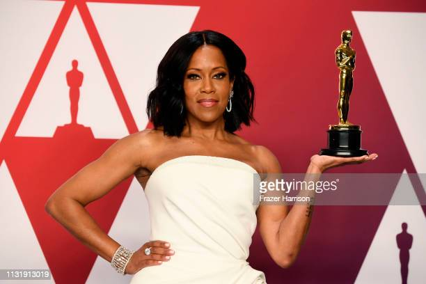 "Actor Regina King winner of the Best Actress in a Supporting Role award for ""If Beale Street Could Talk"" poses in the press room during at Hollywood..."
