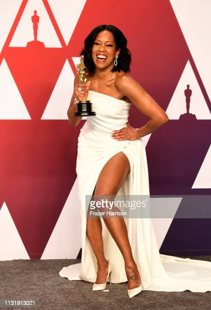 """Actor Regina King winner of the Best Actress in a Supporting Role award for """"If Beale Street Could Talk"""" poses in the press room during at Hollywood..."""