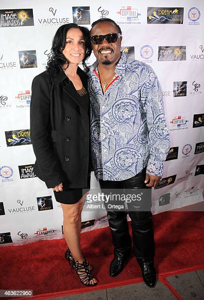 Actor Reginald T Dorsey and Beverly Ming Lee arrive for the NAACP Image Award Nomination Party For Get On Up The James Brown Story held at Vaucluse...
