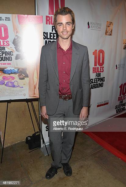 Actor Reid Ewing attends the premiere of Screen Media Films' 10 Rules For Sleeping Around at the Egyptian Theatre on April 1 2014 in Hollywood...