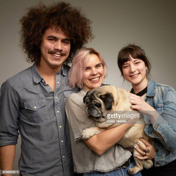 Actor Rene Cruz Writer Meredith Johnston Chato the Pug and Director Carol Brandt from the film 'Pet Names' poses for a portrait in the Getty Images...