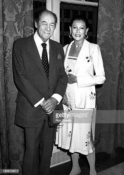Actor Rex Harrison and wife Mercia Harrison attend Salute to Theater Week KickOff Party on June 1 1987 at Gracie Mansion in New York City