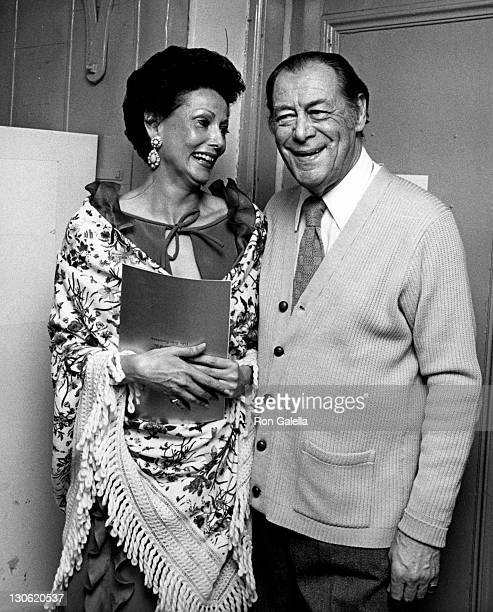 Actor Rex Harrison and wife Mercia Tinker attend Lerner and Loewe Tribute Gala on May 14 1979 at the Winter Garden Theater in New York City