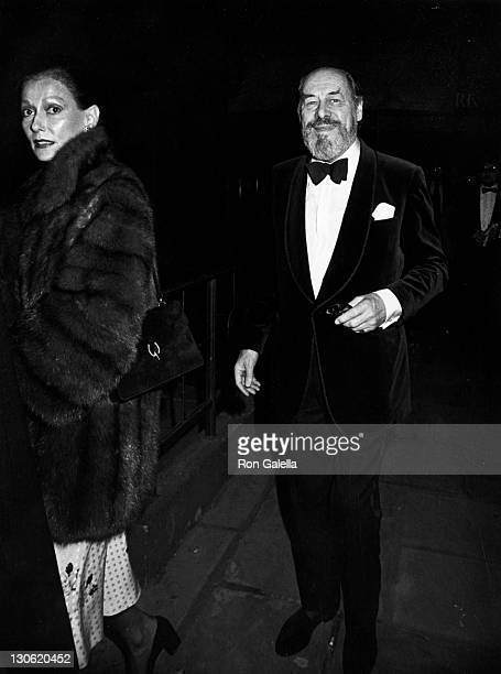 Actor Rex Harrison and wife Mercia Tinker attend the party for 84 Charing Cross Road on December 7 1982 at The Player's Club in New York City