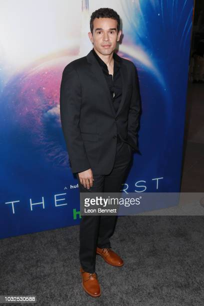 """Actor Rey Lucas attends the Premiere Of Hulu's """"The First"""" at California Science Center on September 12, 2018 in Los Angeles, California."""