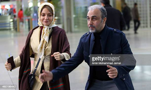 Actor Reza Ataran and actress Mahnaz Afshar on the set of 'Sperm Whale' Movie on December 9 2014 in Tehran Iran