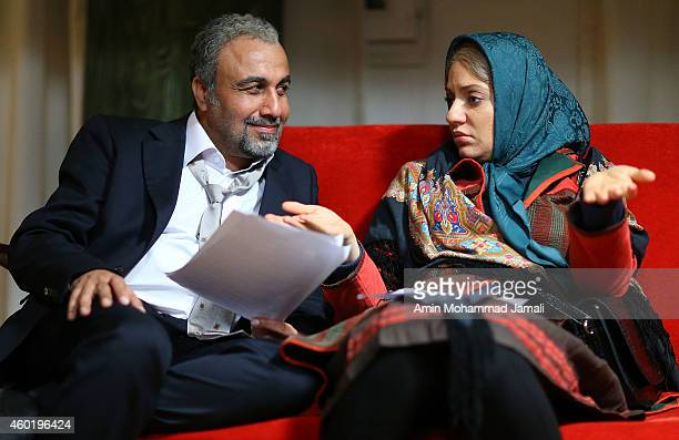 Actor Reza Ataran and Actress Mahnaz Afsharon the set of 'Sperm Whale' Movie on December 9 2014 in Tehran Iran