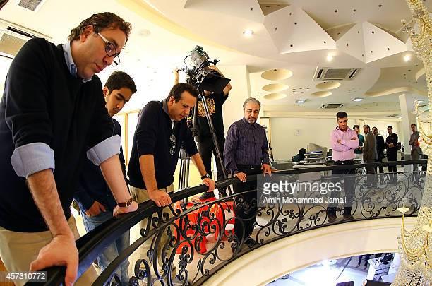 Actor Reza Attaran and Director Saman Moghadam and Assistant Director Alireza shams Sharifi look on during 'Sperm Whale' Movie on October 16 2014 in...