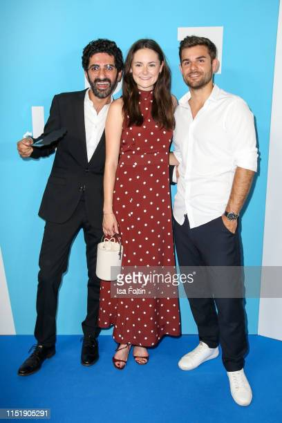 Actor Reza Brojerdi, German actress Lea van Acken and German actor Lucas Reiber attend the summer party of the German Producers Alliance on June 25,...