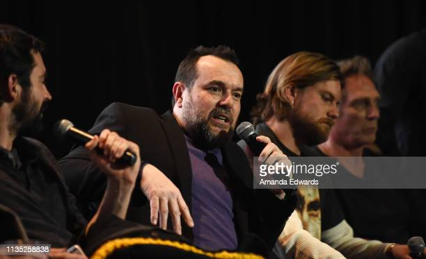 Actor Rhys Coiro producer Anthony Mastromauro and actors Jake Weary and William Fichtner attend the 'Finding Steve McQueen' Los Angeles special...