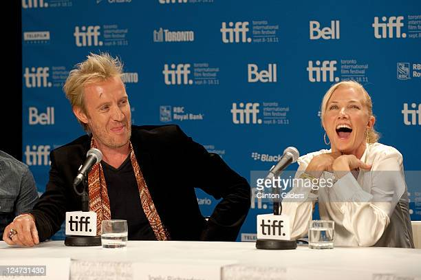 Actor Rhys Ifans and actress Joely Richardson attend the 'Anonymous' press conference on September 11 2011 in Toronto Canada