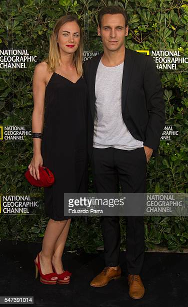 Actor Ricard Sales and actress Elsa Herrera attend the National Geographic Channel 15th Anniversary photocall at the EEUU embassy on July 14 2016 in...