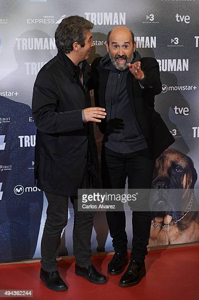 Actor Ricardo Darin and Spanish actor Javier Camara attend the 'Truman' premiere at the Palafox cinema on October 26 2015 in Madrid Spain