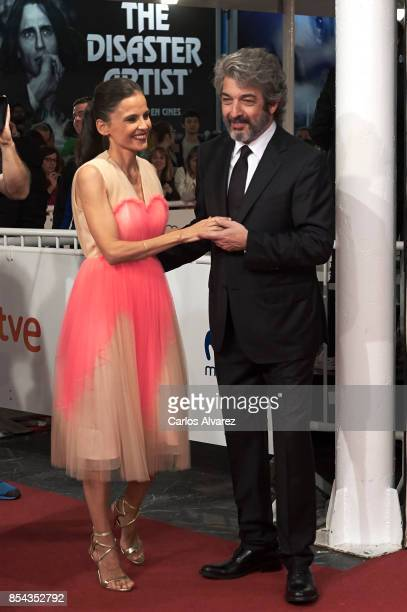 Actor Ricardo Darin and Spanish actress Elena Anaya attend 'La Cordillera' premiere during the 65th San Sebastian International Film Festival on...