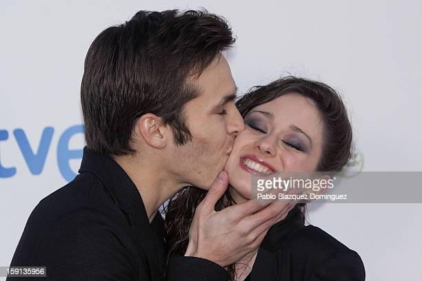 Actor Ricardo Gomez and actress Elena Rivera attend 'Cuentame Como Paso' 14th Season presentation at Capitol Cinema on January 8 2013 in Madrid Spain
