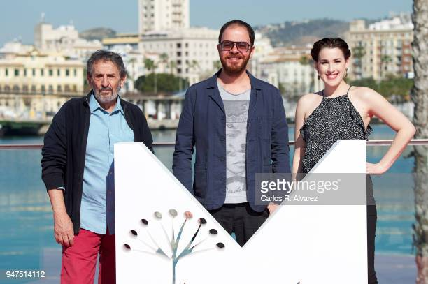 Actor Ricardo Merkin director Andre Ristum and actress Stephanie de Jongh attend 'A Voz Do Silencio' photocall at the 21th Malaga Film Festival on...
