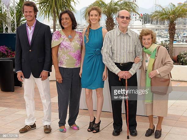 Actor Ricardo Trepa actresses Ana Maria Magalhaes and Pilar Lopez with director Manoel De Oliveira and his wife Maria Isabel Brandao de Meneses de...