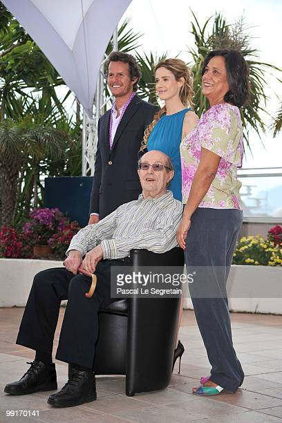 Actor Ricardo Trepa actresses Pilar Lopez and Ana Maria Magalhaes with director Manoel De Oliveira attend the 'The Strange Case Of Angelica'...