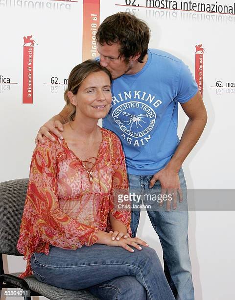 Actor Ricardo Trepa kisses actress Leonor Silveira at the photo call for Espelho Magico as part of the 62nd Venice Film Festival on September 1 2005...