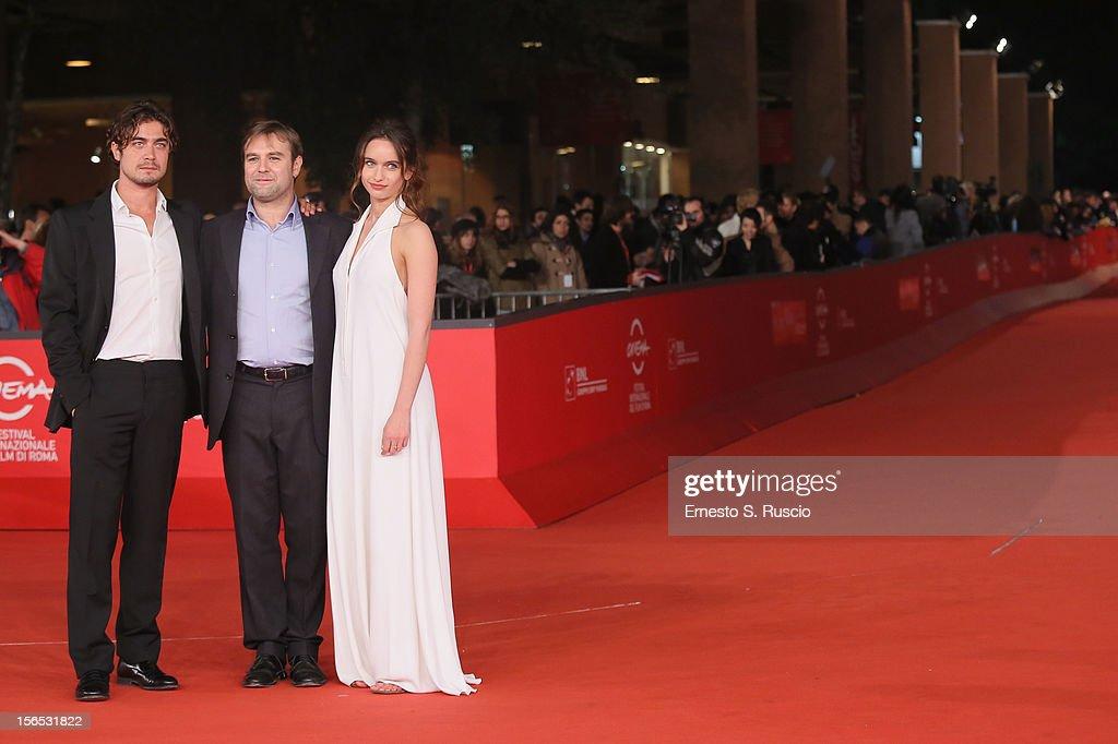 Actor Riccardo Scamarcio, director Francesco Amato and actress Clara Ponsot attend the 'Cosimo E Nicole' Premiere during the 7th Rome Film Festival at Auditorium Parco Della Musica on November 16, 2012 in Rome, Italy.