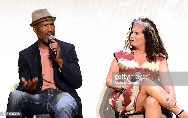 Actor Ricco Ross and actress Jenette Goldstein during the Q A at the Alamo Drafthouse Mondo And 20th Century Fox Present Special Screening Of Aliens...