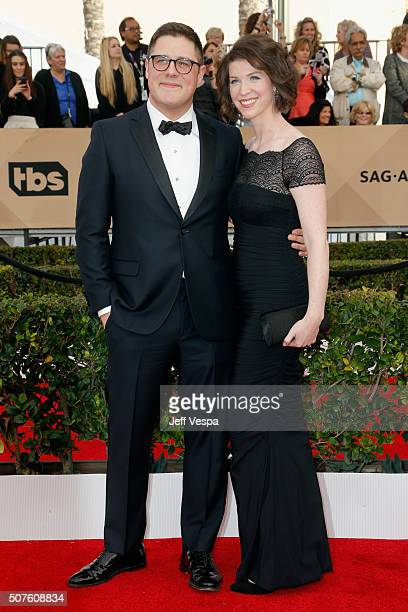 Actor Rich Sommer and actress Virginia Donohoe attend the 22nd Annual Screen Actors Guild Awards at The Shrine Auditorium on January 30 2016 in Los...