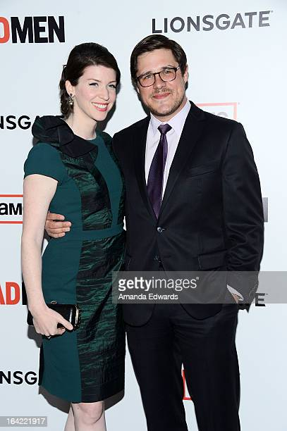 Actor Rich Sommer and his wife Virginia Donohoe arrive at AMC's Mad Men Season 6 Premiere at the DGA Theater on March 20 2013 in Los Angeles...
