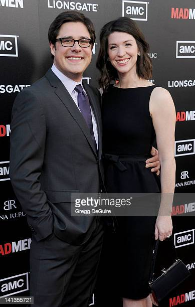 Actor Rich Sommer and Virginia Donohoe arrive at AMC's Mad Men Season 5 Premiere at ArcLight Cinemas Cinerama Dome on March 14 2012 in Hollywood...