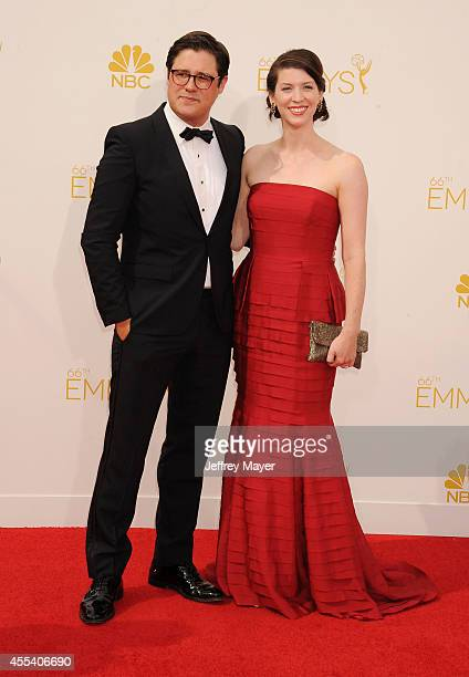 Actor Rich Sommer and Virginia Donohoe arrive at the 66th Annual Primetime Emmy Awards at Nokia Theatre LA Live on August 25 2014 in Los Angeles...
