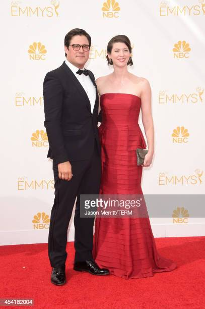 Actor Rich Sommer and Virginia Donohoe attend the 66th Annual Primetime Emmy Awards held at Nokia Theatre LA Live on August 25 2014 in Los Angeles...