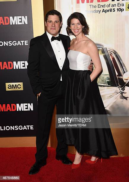Actor Rich Sommer and Virginia Donohoe attend the AMC celebration of the final 7 episodes of Mad Men with the Black Red Ball at the Dorothy Chandler...