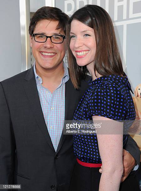 Actor Rich Sommer and wife Virginia Donohoe arrive to the premiere of The Weinstein Company's Our Idiot Brother on August 16 2011 in Los Angeles...