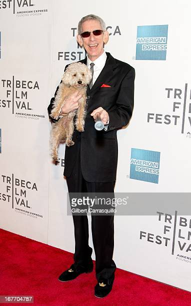 """Actor Richard Belzer and his dog Bebe attend the closing night screening of """"The King of Comedy"""" during the 2013 Tribeca Film Festival at BMCC..."""