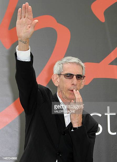 US actor Richard Belzer makes the nazi salute as he poses during a photocall for the TV show Low and order Special victims unit as part of the 52nd...