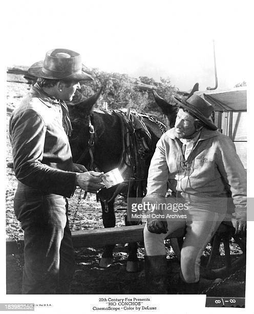 Actor Richard Boone and Stuart Whitman on set of the 20th Century Fox movie Rio Conchos in 1964