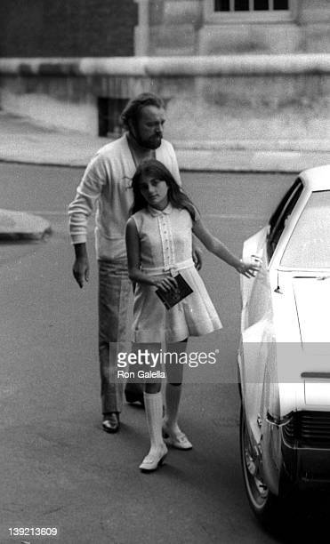 Actor Richard Burton and daughter Maria Burton sighted on September 1 1969 at the Dorchester Hotel in London England
