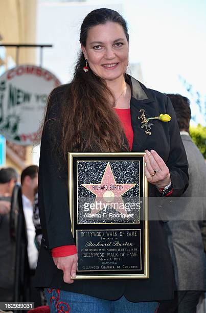 Actor Richard Burton's daughter Maria Burton attends a ceremony honoring Richard Burton with the 2491st star on the Hollywood Walk of Fame on March 1...