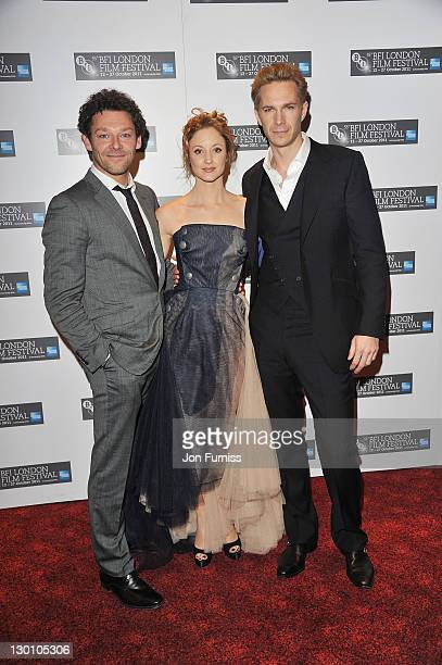 Actor Richard Coyle, actress Andrea Riseborough and Actor James D'Arcy attends the screening of 'W.E.' at The 55th BFI London Film Festival at Empire...
