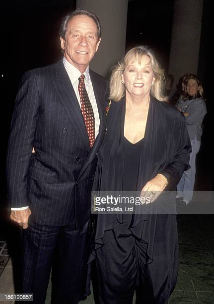 Actor Richard Crenna and wife Penni Sweeney attend the Sixth Annual Genesis Awards on March 1 1992 at Beverly Hilton Hotel in Beverly Hills California